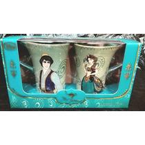 Tazas 2, Aladin Y Jazmin, Disney Store, Ceramica Filo Dorado
