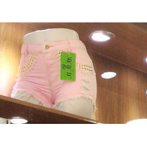 Shorts Jeans Destroyed Hot Pant Top Balada+festa Barato Rosa