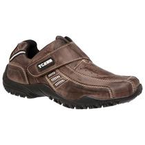 Sapatênis, Sapato Velcro, 100% Couro Masculino Frete Gratis