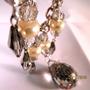 Collar/cadena Antiguo Cristales Grises Facetados/perlas,herm