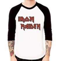 Camisa Blusa Raglan 3/4 Iron Maiden