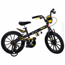 Bicicleta Batman Aro 16 Infantil Menino Rodinhas Bandeirante