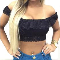 Top Cropped Blusa Feminina Renda Babado Ombro A Ombro
