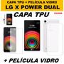 Capa Lg X Power Tpu Antishock + Película De Vidro Temperado