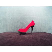 Zapatos Para Damas Con Tacon, En Rosado Con Negro