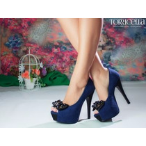 Sapato Salto Alto Peep Toe Laço Azul Festa Importado Lindo