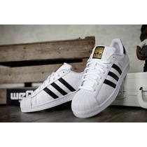 Adidas Super Star Blanco Negro Dorado Originales