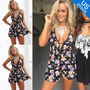Women Fashion Sexy Sleeveless Floral Print Short Jumpsuit
