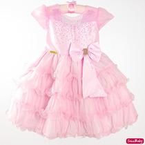 Vestido Bailarina Rosa Festa Infantil Luxo Com Faixinha