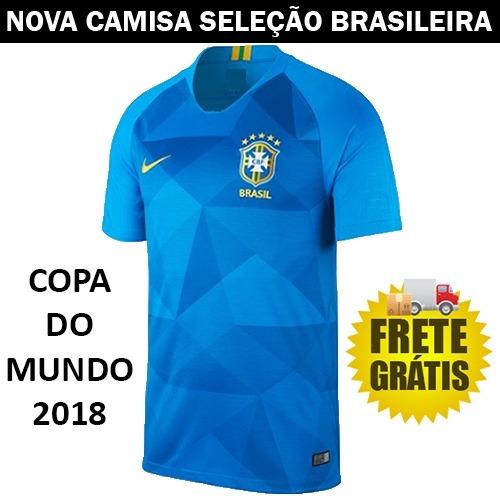 Nova Camisa Azul Seleção Brasileira Copa 2018 Frete Gratis - R  120 ... 73ec3303d3b82
