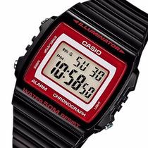 Relogio Casio W 215-1a2 Preto Brilho/vermelho Alarm Crono