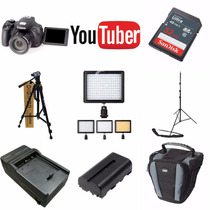 Kit Youtuber Canon Sx-60 Hs 32gb + Tripés + Led 160 Bateria