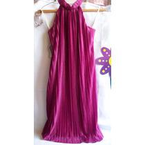 Elegante Vestido Corto Color Fiusha Plisado