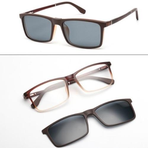 b0fb4d395444b Armação Clip On Masculina Óculos Grau Clipon Tr90 142 - R  150