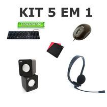 Kit Teclado Mouse Mousepad Cx De Som Fone C/ Mic Revenda