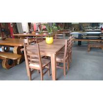 Mesa Estrutura De Madeira E Tampo Com Chapa 6 Cadeiras
