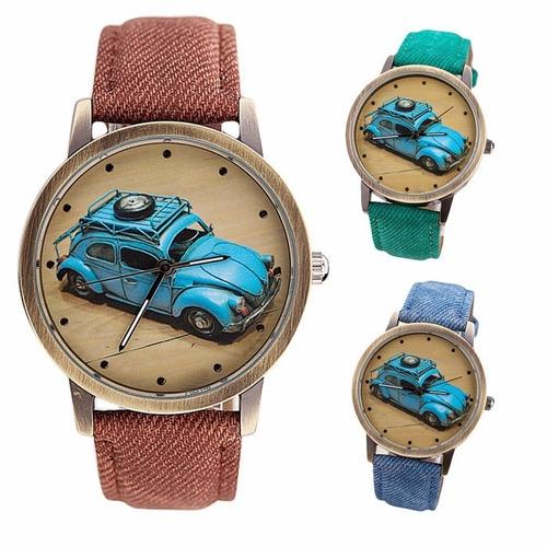 96fd5dd0565 Relógio Vintage Painel Fusca Azul Impacto Relógios Retro - R  19