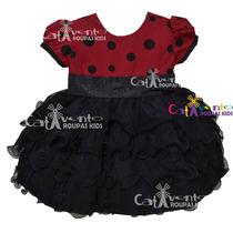 Vestido Festa Infantil Minnie Joaninha Com Faixa De Brinde