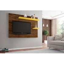 Painel Tv Sala Onix Cor Madeira Rustica/amarelo