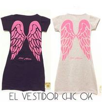 Vestido Algodon Y Lycra Estampado Alas Angel Verano