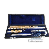 Flauta Yamaha Yfl-271s Chaves Banhadas Ouro Bocal Curvo/reto