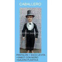 Disfraz Caballero Con Galera Yabot Talle 4/6/8/10 25 De Mayo