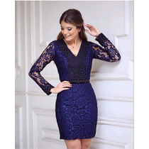 Vestido Femenino/vestido Renda Azul/vestido Elegante Renda