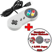 Controle Super Nintendo Snes Usb Pc + Emulador E 2600 Jogos