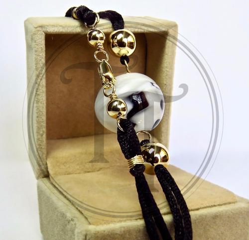 Cadenas De Oro Italiano 14k: Collar Oro Italiano 14k, Murano Veneciano, Cordón De Seda