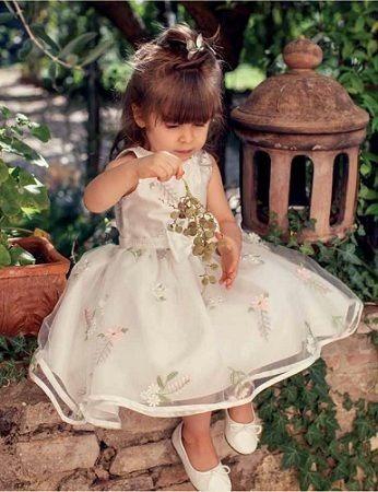 0c4f3fd84 Vestido Petit Cherie Festa Em Tule Branco Com Flores Bordada - R$ 263,90 em Mercado  Livre
