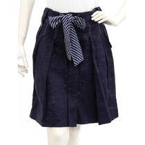 Falda Lino Azul Marino, Botones Al Frente, Cinturón De Raya