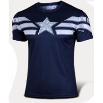 Camisa Capitão América Azul Escura - Pronta Entrega