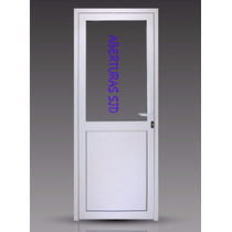 Puerta Módena Premium Aluminio Blanco 80x200 Vidrio Entero