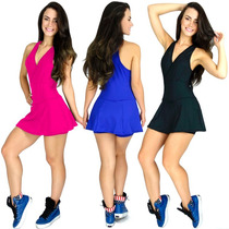 Macaquinho Vestido Academia Fitness Short Saia Liso Suplex