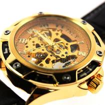 Relógio Masculino Esqueleto Automático Folheado A Ouro 48mm