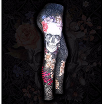 Calça Legging Printfull Skull Cós Alto Tattoo Caveira Rock
