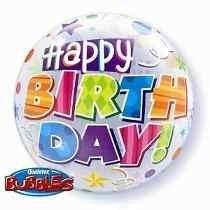 Feliz Cumpleaños Happy Birthday Globo Burbuja Latex 24 Pulg