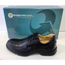 Sapato Anatomic Gel 7816 Em Couro Cd-9823 ( Black Floater )