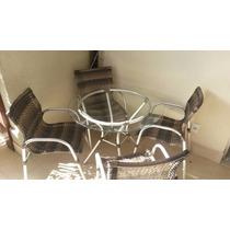 Mesa Redonda Vidro Cromada 90 Cm Com 4 Cadeiras