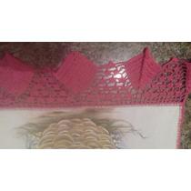 Pano De Prato Pintado A Mão Com Barrado De Crochê