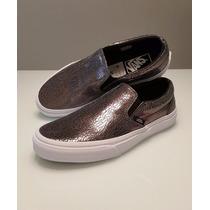 Tênis Vans Slip On - Couro Metalico - Leather Cracked Tam.36