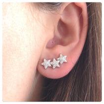 Brinco Prata Ear Cuff Estrela Com Zircônias Prata 950