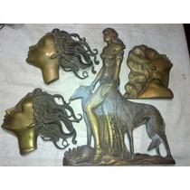 Lote De 4 Figuras De Bronce Antiguas Muy Buen Estado Para Pu