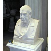 Busto De Sarmiento En Marmolina Y Cemento H: 61 Cm