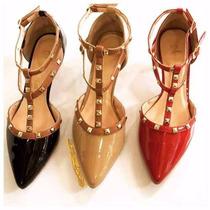 Scarpin Sandalia Salto Baixo Bico Fino Marca Leluel Shoes