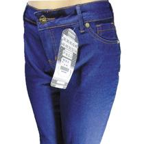 Calça Jeans Flare Cintura Média Com Elasticidade E Bolsos