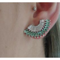 Brinco Feminino Ear Cuff Topázio Verde Em Prata Rodinada