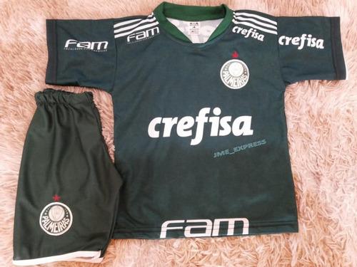 Conjunto Infantil Do Palmeiras Uniforme Camisa E Shorts - R  32 8ce6ca064c301