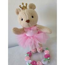Topo Bolo Ursa Princesa Bailarina - Tecido -enfeite Bolo