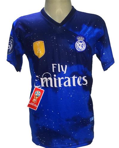 Camisa Real Madrid Vinicius Jr 2019 Azul Branca Preto Vermel - R  29 ... a341402bdffae